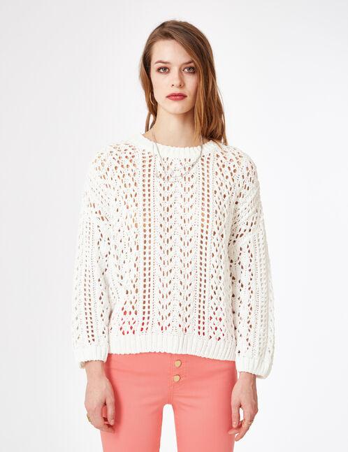 White openwork chenille jumper