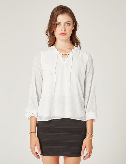 Cream dobby spot blouse with lacing detail