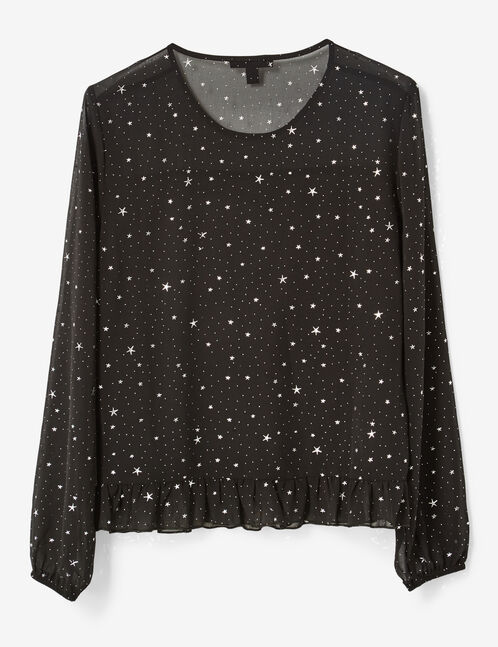 Black star print blouse