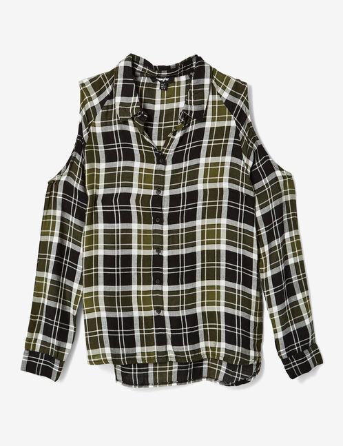 chemise épaules ajourées kaki, noire et blanche