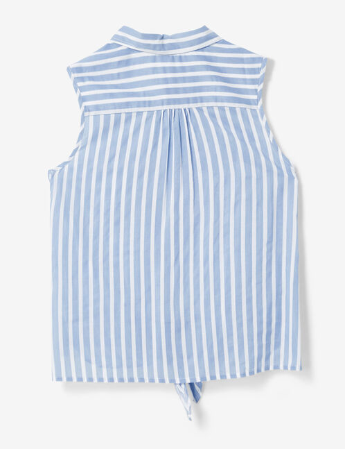 Light blue and white striped tie-fastening blouse
