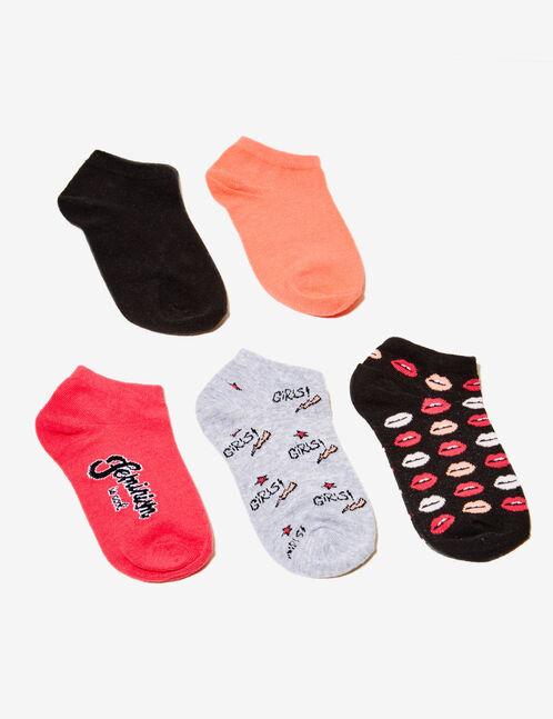 chaussettes fantaisies noires, corail, grises et roses