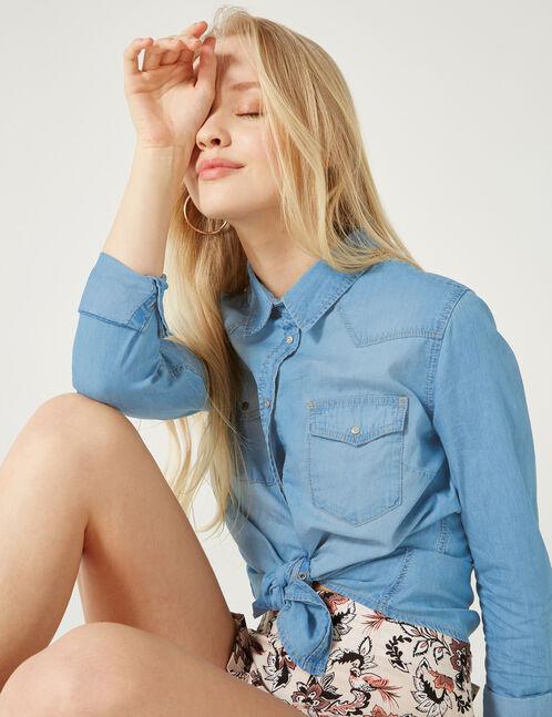 chemise en jean bleu clair