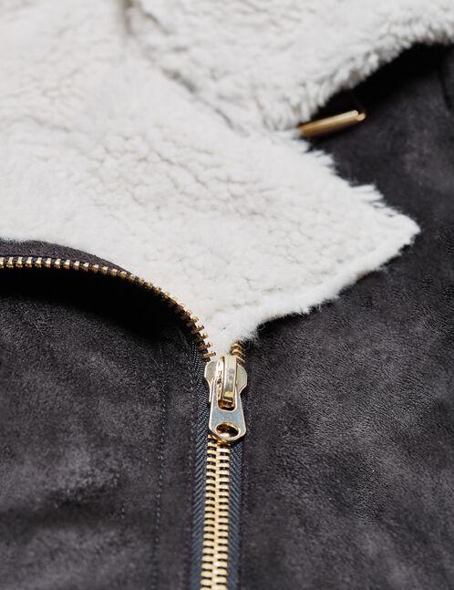 blouson zippé en suédine noir