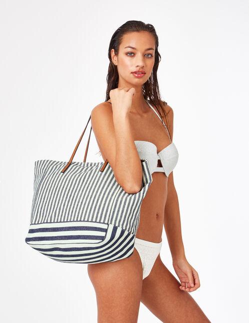 sac de plage rayé écru et bleu marine