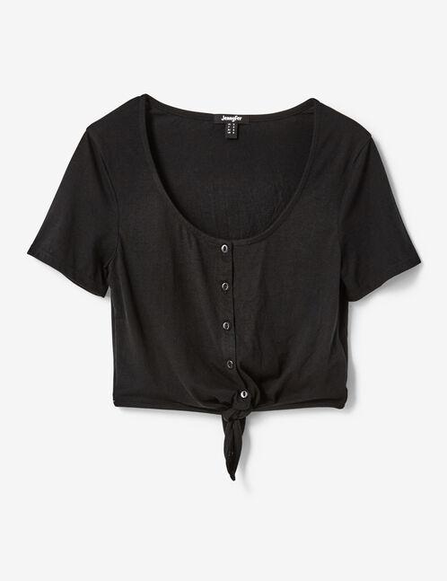 tee-shirt boutonné à nouer noir