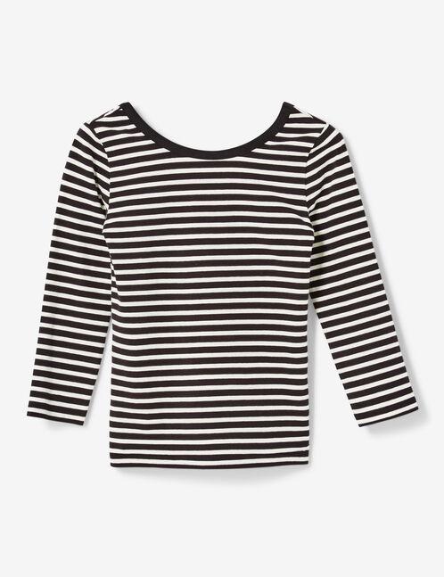 tee-shirt rayé décolleté dos noir et écru
