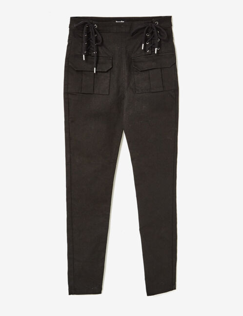 Black trousers with lacing detail
