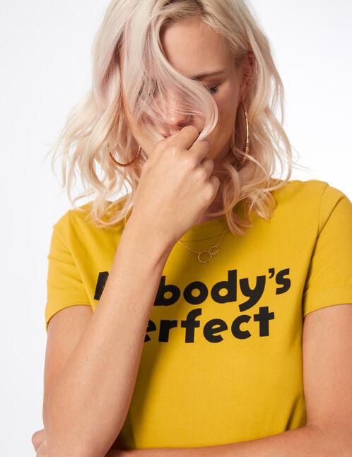 tee-shirt à message ocre