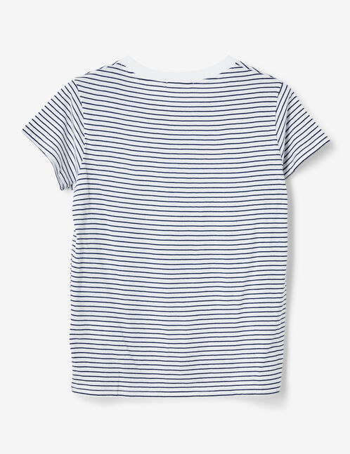 Basic white and blue striped T-shirt