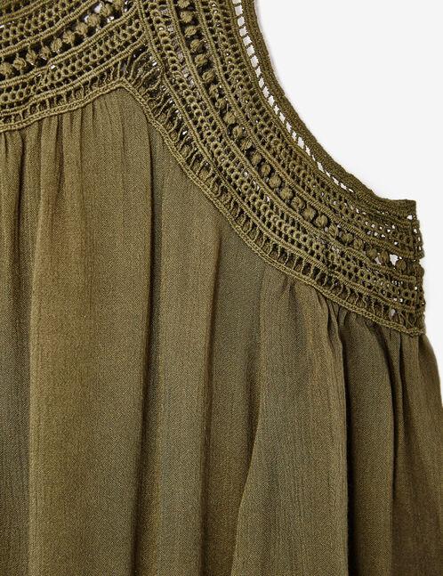 blouse avec macramé kaki
