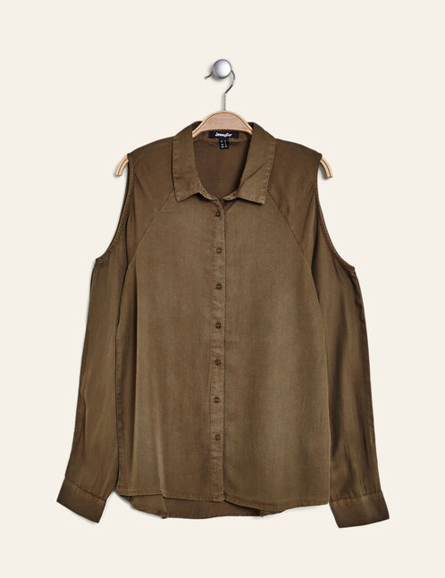 Khaki shirt with cut-out shoulders