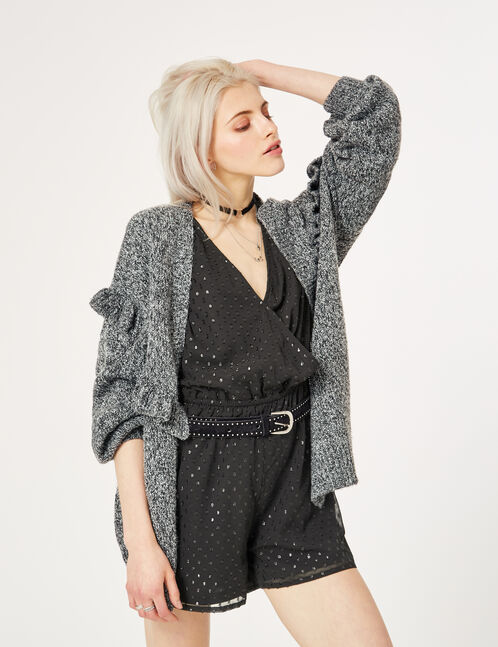 Charcoal grey marl cardigan with frill detail