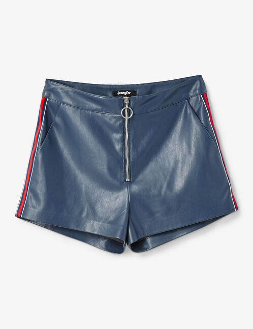 Blue faux leather shorts
