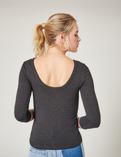 Charcoal grey marl striped scoop-back top