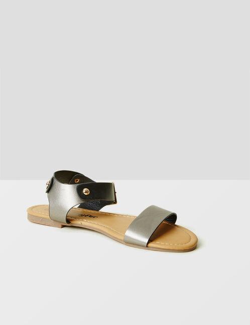 sandales plates bicolores noires et bronze
