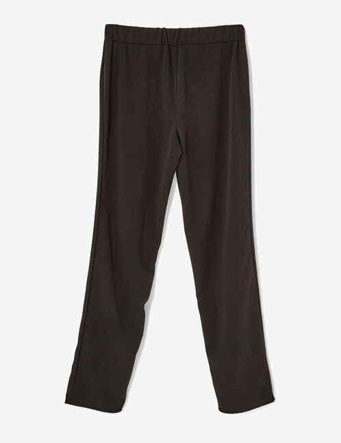 Black straight-leg trousers with mesh detail