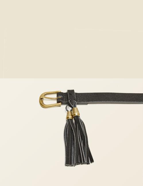 ceinture à pompons noire