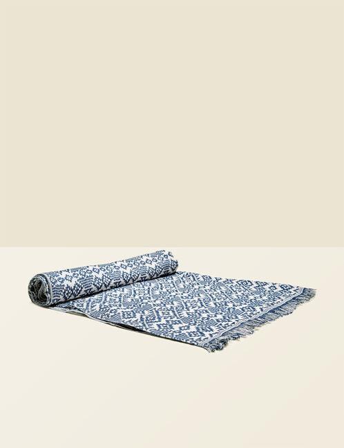 foulard motif géométrique bleu et écru