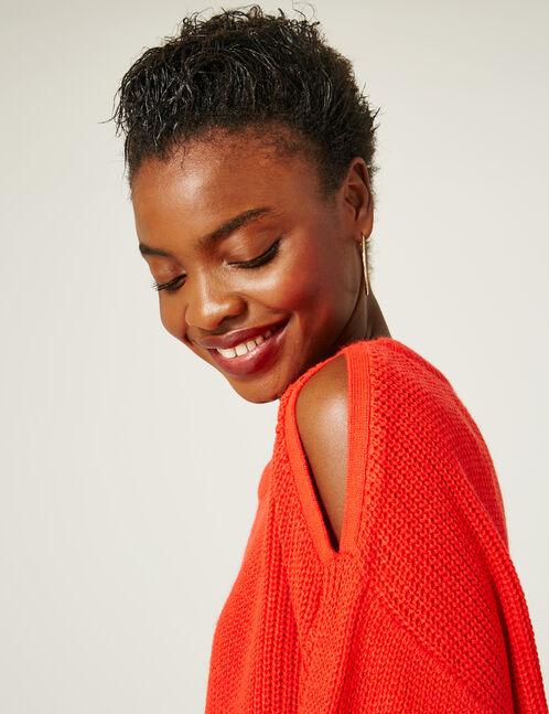 Red cold shoulder jumper
