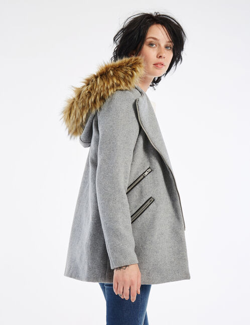 Grey marl hooded coat