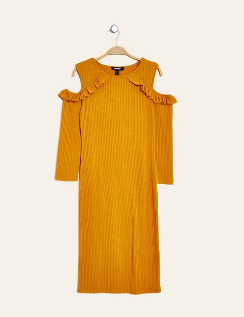 robe tube à volants jaune