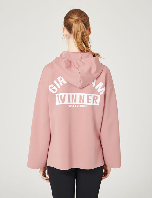 Light pink long hoodie with velvet message