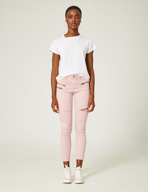 Nude skinny trousers with zip detail