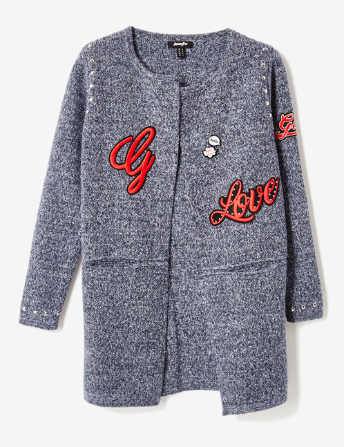Navy blue marl cardigan with patch and stud details
