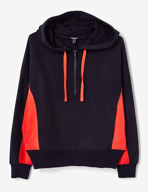 sweat bicolore avec zip noir et rouge