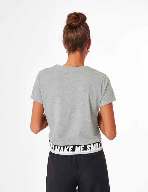 tee-shirt make me smile gris chiné