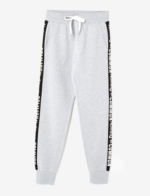 Grey marl joggers with text design detail