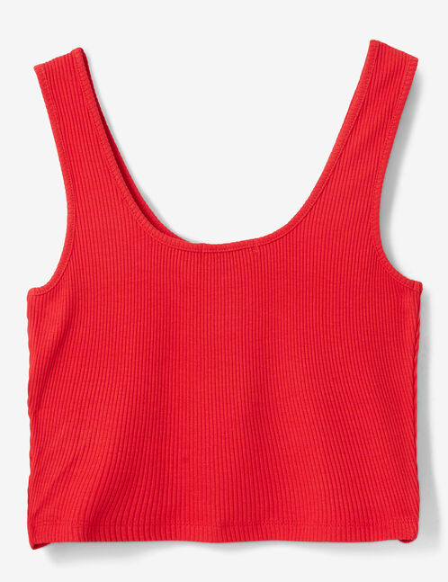 Red crop top with zip detail