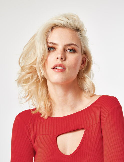 Red top with open detail