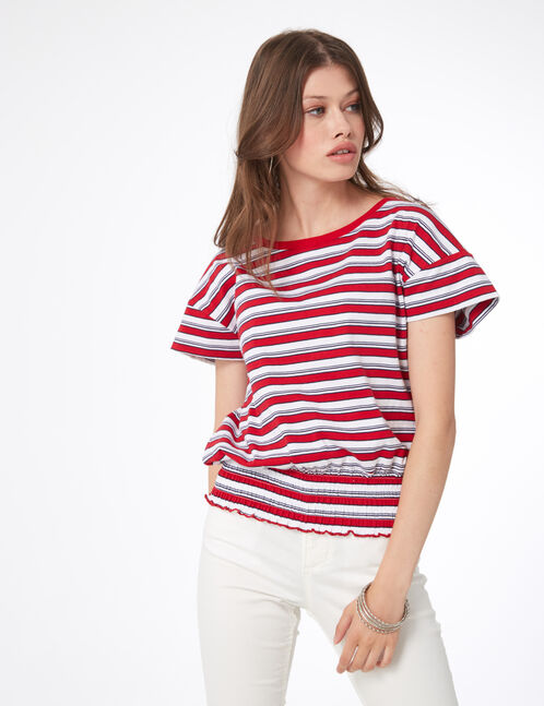 Red, cream and navy blue striped elasticated T-shirt