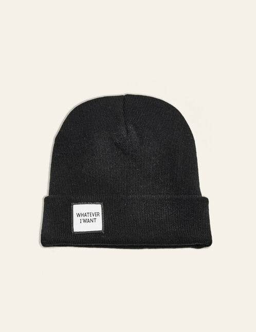 Black beanie with patch