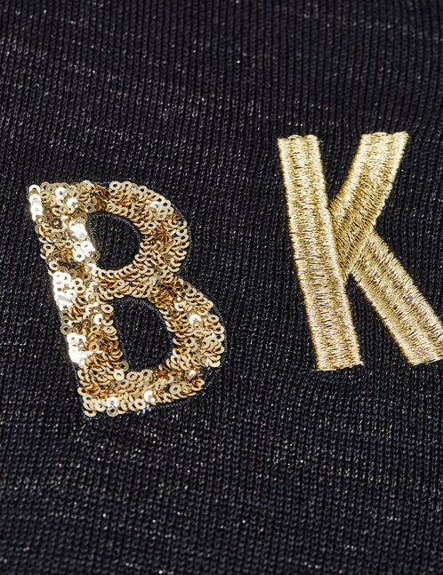 "Black jumper with ""bklyn"" sequinned motif"