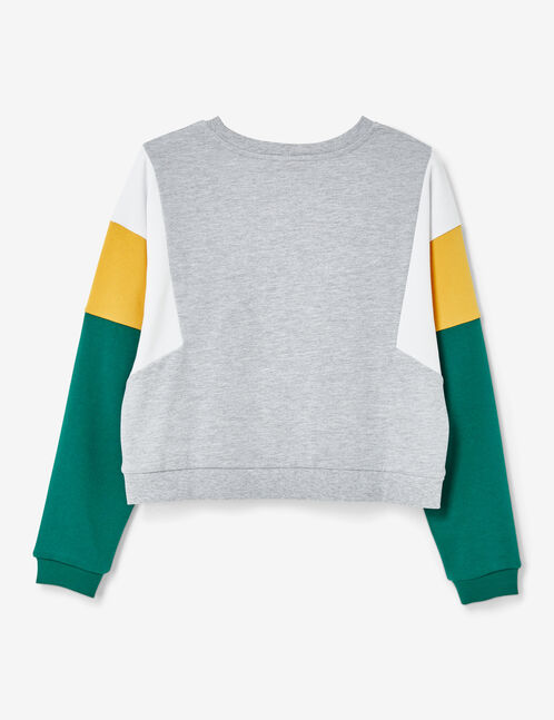 Grey marl, white, ochre and green sweatshirt with panel detail