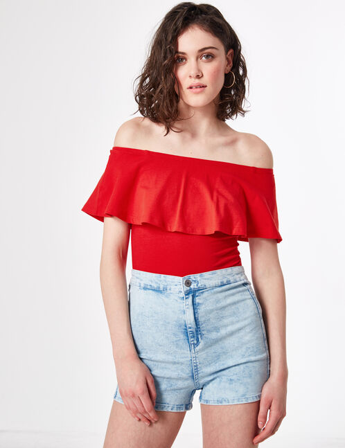 Red frilled bodysuit