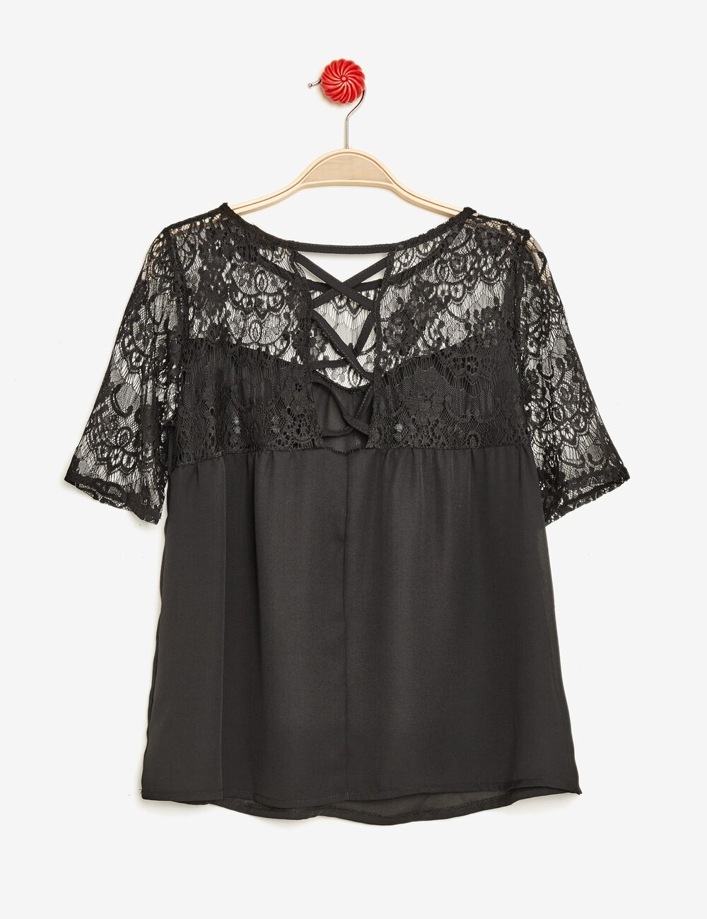 blouse dentelle et la age noire femme jennyfer. Black Bedroom Furniture Sets. Home Design Ideas