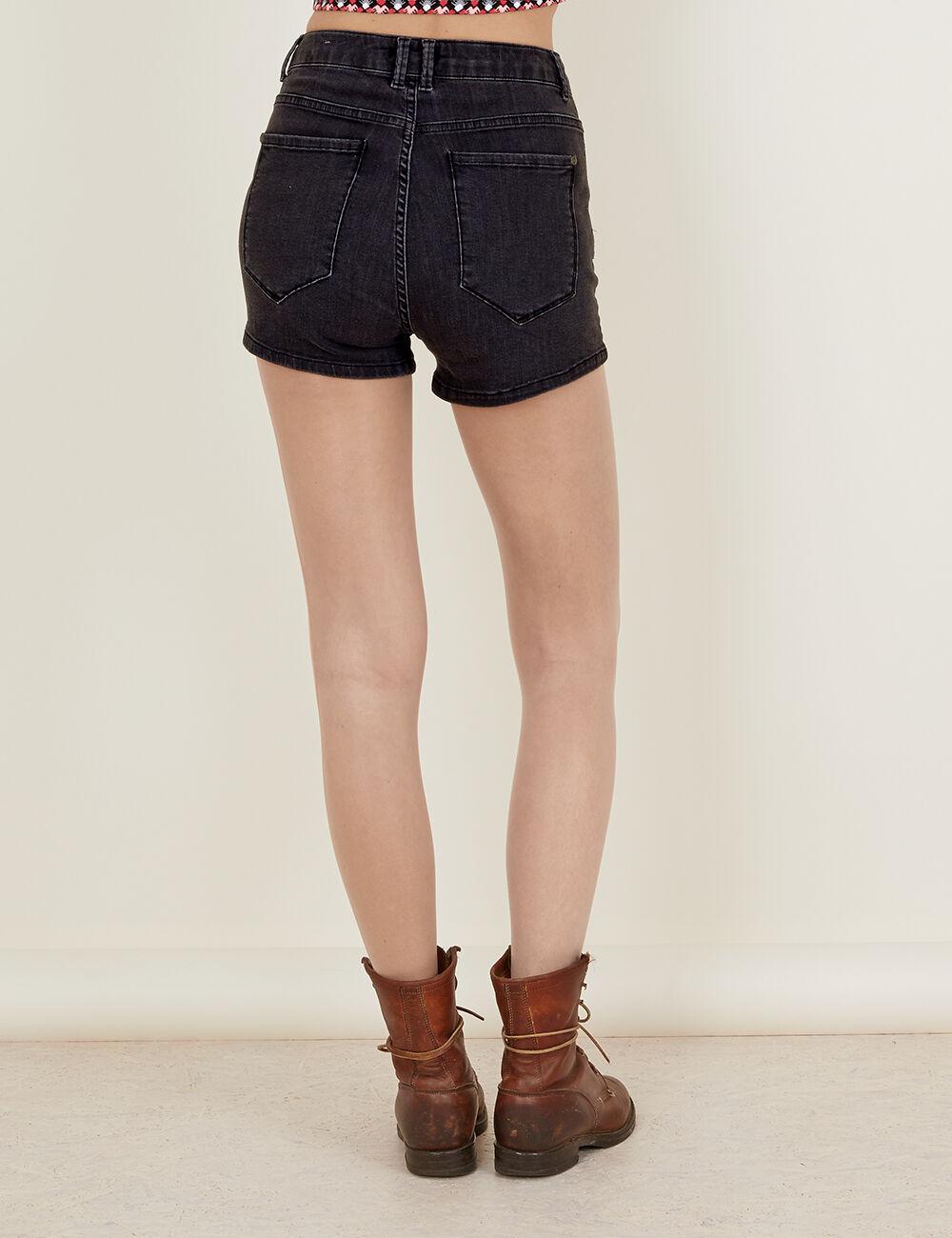 short en jean taille haute noir d lav femme jennyfer. Black Bedroom Furniture Sets. Home Design Ideas