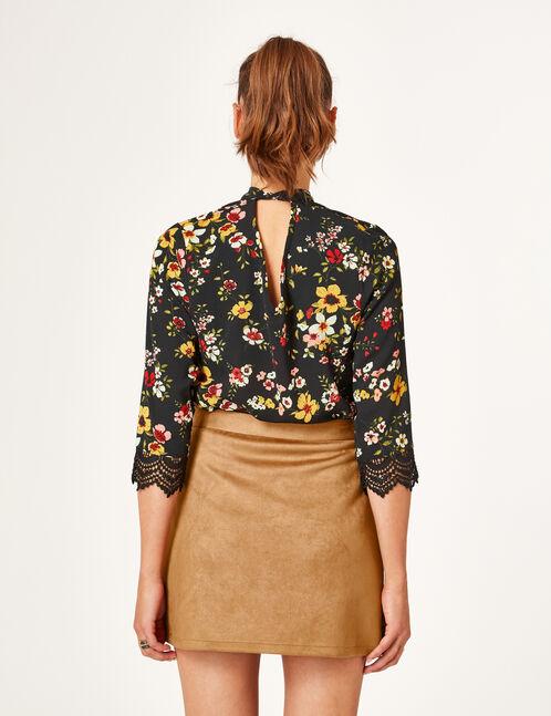 Black macramé detail blouse