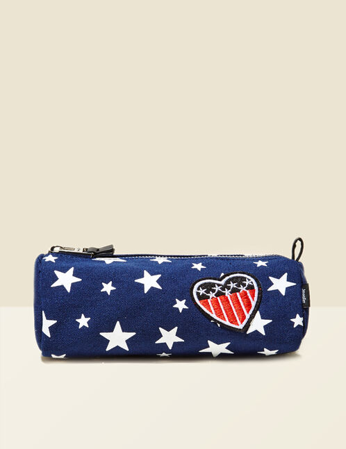 Navy blue Americana-inspired make-up bag