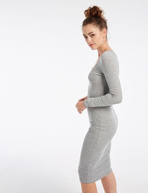 Long black and grey tube dress