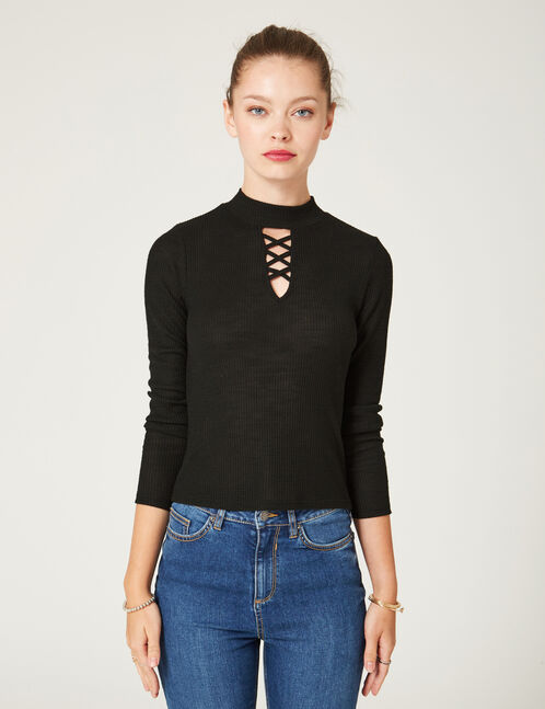 Black top with cut-out detail