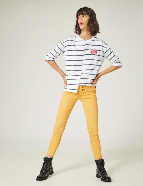 pantalon 7/8eme taille haute ocre