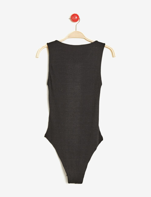 Black ribbed bodysuit with lacing detail