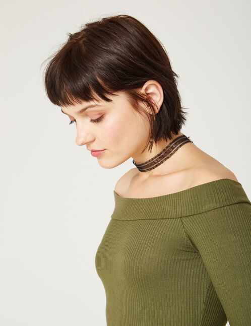 Khaki off-the-shoulder top