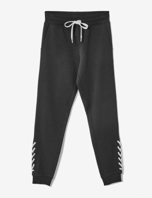Black joggers with lacing detail