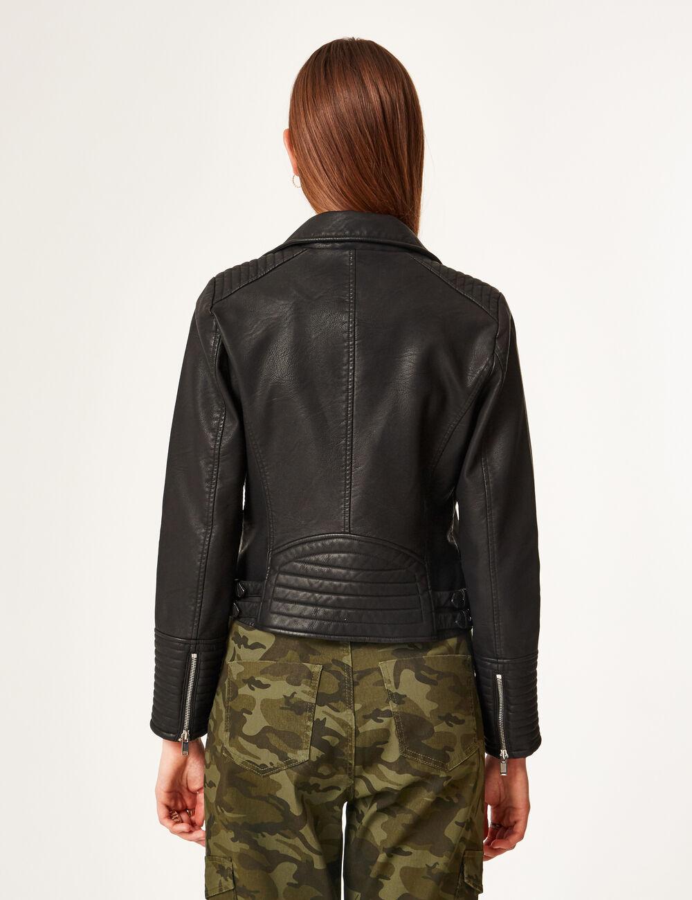 veste simili cuir femme trackid sp 006 v tements l gants modernes. Black Bedroom Furniture Sets. Home Design Ideas